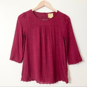 anthropologie maeve | burgundy blouse size 0